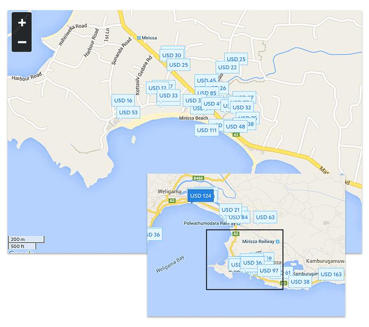Пляж Мирисса на карте